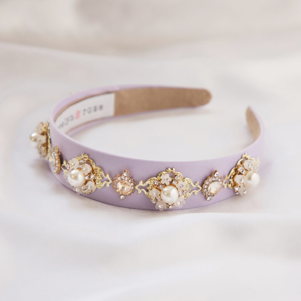 lilac headband pearl and crystal